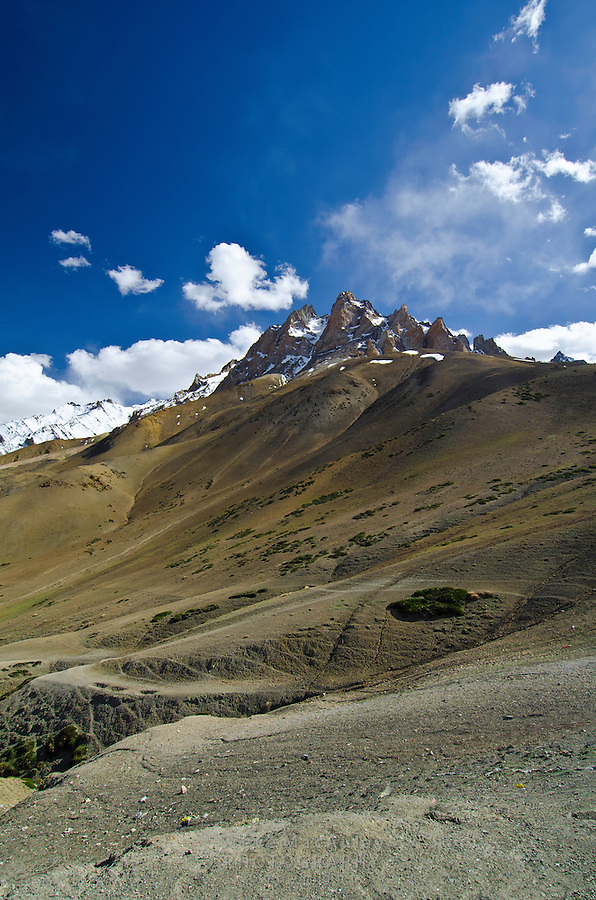 The Zanskar Range, a part of the Great Himalayan Range, as seen from the Srinagar to Leh road.  Ladakh, India.