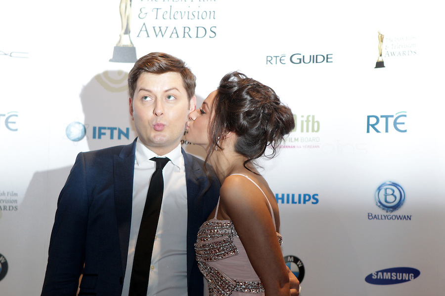 12/2/11  Brian Dowling and Michelle Keegan at the 8th Irish Film and Television Awards at the Convention centre in Dublin. Picture:Arthur Carron/Collins