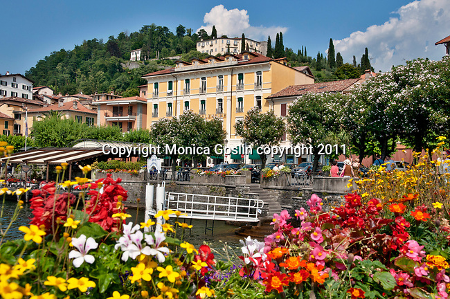 The town of Bellagio on Lake Como, Italy with a view of the Rockefeller Foundation on the hill top in the background