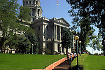 TOURISTS CLIMB STEPS to VISIT DENVER COLORADO STATE CAPITOL<br />