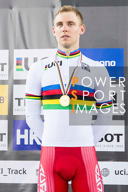 Adrian Teklinski of the Poland team celebrates winning the Men's Scratch Race Final as part of the 2017 UCI Track Cycling World Championships on 13 April 2017, in Hong Kong Velodrome, Hong Kong, China. Photo by Chris Wong / Power Sport Images