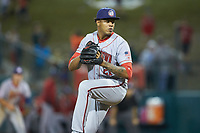 Hagerstown Suns relief pitcher Jhonatan German (21) in action against the Greensboro Grasshoppers at First National Bank Field on April 6, 2019 in Greensboro, North Carolina. The Suns defeated the Grasshoppers 6-5. (Brian Westerholt/Four Seam Images)