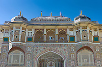 Islamic design of Ganesh Pol, Ganesh Gate, at 16th Century The Amber Fort a Rajput fort, Jaipur, Rajasthan, India