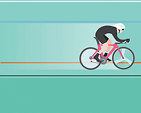 Professional cyclist riding bike in velodrome