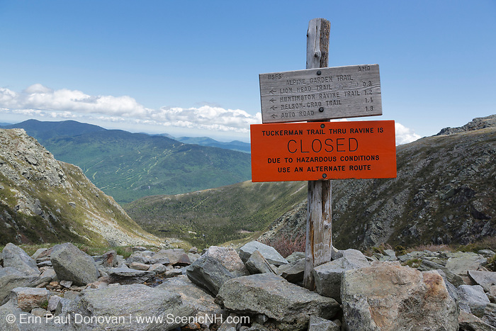 "Mount Washington - Tuckerman Ravine Trail ""Closed due to hazards conditions"" sign in the White Mountains, New Hampshire. Mount Washington is famous for the highest wind gust ever measured on earth at 231 miles per hour on April 12, 1934."
