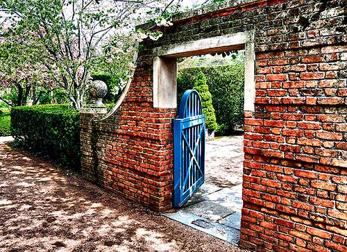 Blue Wooden Gate At The Botanic Gardens