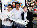 "NHL Players Sean O'Donnell, George Parros and  Chris Osgood (L-R) arrive at the Los Angeles Premiere of ""The Love Guru"" on June 11, 2008 at Grauman's Chinese Theatre in Hollywood, California."
