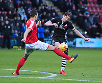 Lincoln City's Alex Woodyard vies for possession with Crewe Alexandra's Perry Ng<br /> <br /> Photographer Andrew Vaughan/CameraSport<br /> <br /> The EFL Sky Bet League Two - Crewe Alexandra v Lincoln City - Saturday 11th November 2017 - Alexandra Stadium - Crewe<br /> <br /> World Copyright &copy; 2017 CameraSport. All rights reserved. 43 Linden Ave. Countesthorpe. Leicester. England. LE8 5PG - Tel: +44 (0) 116 277 4147 - admin@camerasport.com - www.camerasport.com