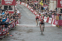 Belgians Greg Van Avermaet (BEL/BMC) &amp; Tim Wellens (BEL/Lotto-Soudal) cross the finish line in the Piazza Del Campo / Siena as 2nd &amp; 3rd and thus complete the podium behind race winner Kwiatkowski<br /> <br /> 11th Strade Bianche 201711th Strade Bianche 2017