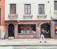The Stonewall Inn on Christopher Street in Greenwich Village in New York on Monday, June 1, 2015. The Landmarks Preservation Commission will be considering conducting a public hearing on whether to landmark the establishment. The Stonewall Inn is considered to be the location of the birth of the Gay Pride movement stemming from riots in 1969 precipitated by police raids. (© Richard B. Levine)