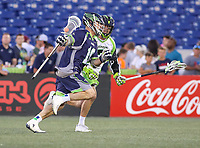 Annapolis, MD - July 7, 2018: Chesapeake Bayhawks Mark Glicini (16) runs with the ball during the game between New York Lizards and Chesapeake Bayhawks at Navy-Marine Corps Memorial Stadium in Annapolis, MD.   (Photo by Elliott Brown/Media Images International)