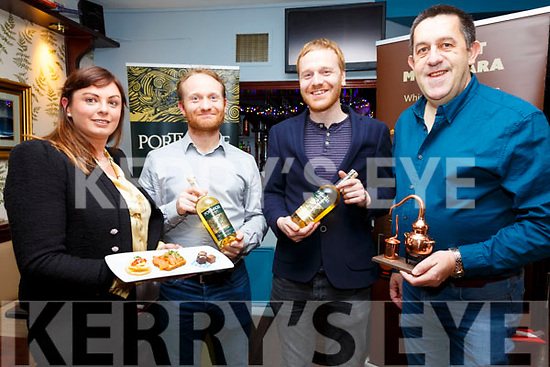 Pictured here in the Fertha Bar, Cahersiveen on Saturday for Portmagee Whiskey and food pairing evening were l-r; Alanna Kelleher,  John Murphy, James Murphy & Stuart McNamara.  All proceeds on the night to the Valentia Lifeboat.