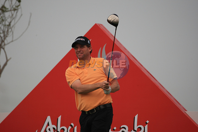 Anders Hansen teeing off on the second tee on day one of the Abu Dhabi HSBC Golf Championship 2011, at the Abu Dhabi golf club 20/1/11..Picture Fran Caffrey/www.golffile.ie.
