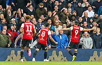 Brentford's Neal Maupay celebrates scoring the opening goal in front of Leeds United fans<br /> <br /> Photographer Alex Dodd/CameraSport<br /> <br /> The EFL Sky Bet Championship - Leeds United v Brentford - Saturday 6th October 2018 - Elland Road - Leeds<br /> <br /> World Copyright &copy; 2018 CameraSport. All rights reserved. 43 Linden Ave. Countesthorpe. Leicester. England. LE8 5PG - Tel: +44 (0) 116 277 4147 - admin@camerasport.com - www.camerasport.com