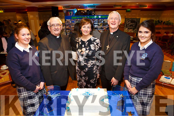 At the Presentation Secondary Castleisland School's 90th celebrations at River Island Hotel on Friday were Myra O'Leary, Fr Dan O'Riordan, Principal Catriona Broderick, Bishop Ray Browne and Moya Sheehan