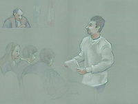 FILE IMAGE -  Vincent Lacroix at his trial,  February 25, 2008 at Montreal Justice Hall.<br /> <br /> <br /> Court sketch by Atalante - Agence Quebec Presse