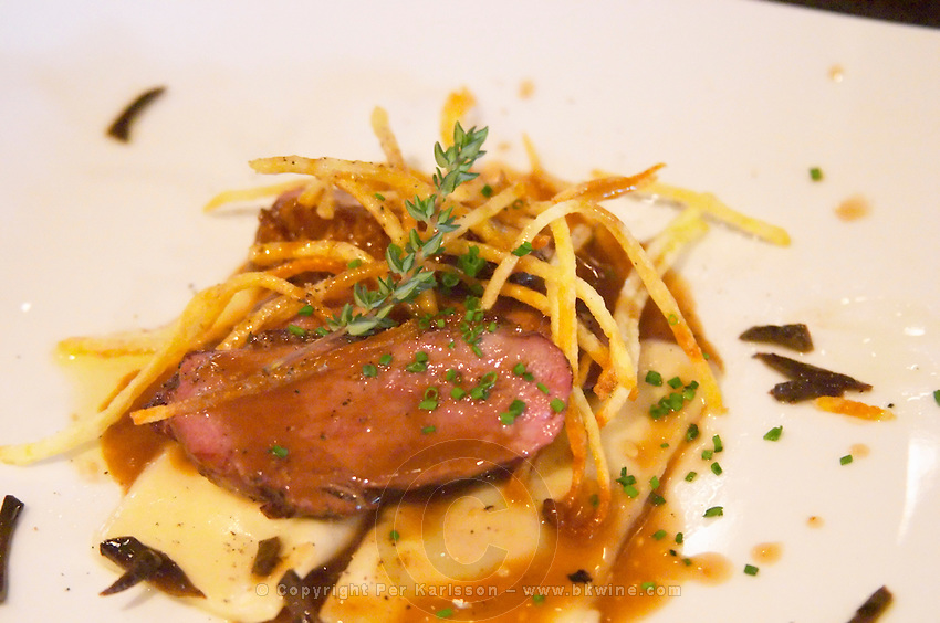 Slices of roast duck's breast placed on top of a ravioli with angle hair thin French fried potatoes on a white plate with a branch of thyme. The O'Farrell Restaurant, Acassuso, Buenos Aires Argentina, South America