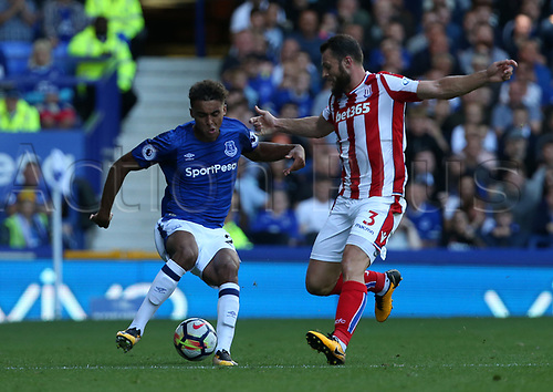 12th August 2017,  Goodison Park, Liverpool, Cheshire, England; EPL Premier League football, Everton versus Stoke City; Dominic Calvert-Lewin of Everton takes on Erik Pieters of Stoke City