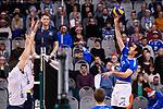 06.12.2018, ZF Arena, Friedrichshafen<br />Volleyball, Bundesliga MŠnner / Maenner, Normalrunde VfB Friedrichshafen vs. SWD powervolleys DŸren / Dueren<br /><br />Block / Doppelblock Tim Broshog (#3 Dueren), Romans Sauss (#7 Dueren) - Angriff Daniel Malescha (#11 Friedrichshafen)<br /><br />  Foto &copy; nordphoto / Kurth