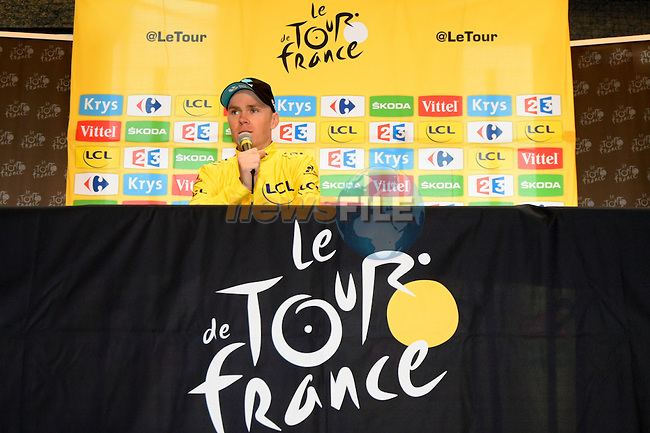 Race leader Yellow Jersey Christopher Froome (GBR) Team Sky speaks at the end of Stage 20 of the 2016 Tour de France running 146.5km from Meg&egrave;ve to Morzine-Avoriaz, France. 23rd July 2016.<br /> Picture: ASO/B.Bade | Newsfile<br /> <br /> <br /> All photos usage must carry mandatory copyright credit (&copy; Newsfile | ASO/B.Bade)