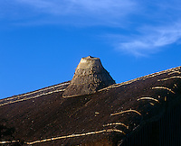 The jauntry chimneystack on the thatched roof is made from an upturned metal bucket