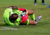 16th July 2020, Orlando, Florida, USA;  Columbus Crew goalkeeper Eloy Room (1) makes a save during the MLS Is Back Tournament between the Columbus Crew SC versus New York Red Bulls on July 16, 2020 at the ESPN Wide World of Sports, Orlando FL.