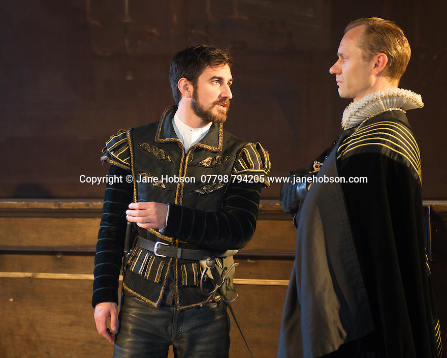 London, UK. 25.04.2014. VENICE PRESERV'D, a site responsive production, by the Spectators' Guild, opens at Payne & Borthwick Wharf. Picture shows: Ferdinand Kingsley (Pierre) and James Hillier (Bedamore). Photograph © Jane Hobson.