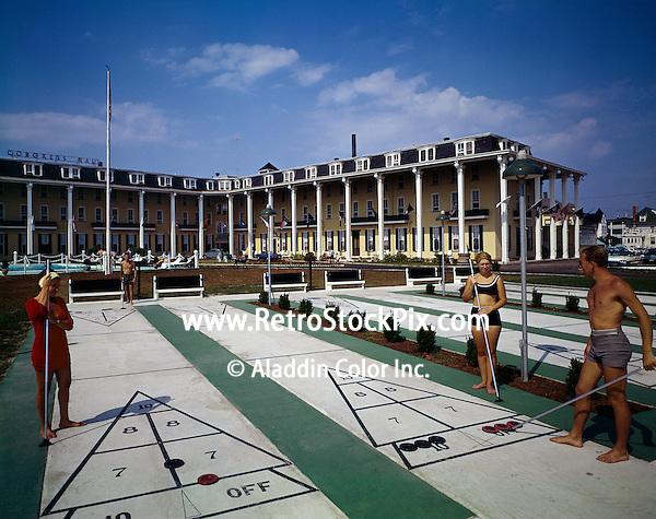 Shuffleboard game at the Congress Hall Hotel in Cape May, New Jersey. 1960's.