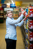 Thursday  28 July 2014<br /> Pictured: Store Assistant Manager Kirsty Griffiths <br /> Re: ALDI Merthyr Tydfill Grand Re-opening