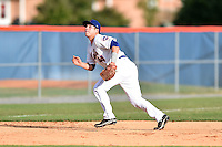Kingsport Mets third baseman Eudor Garcia #44 during a game against the Johnson City Cardinals at Hunter Wright Stadium August 24, 2014 in Kingsport, Tennessee. The Mets defeated the Cardinals 9-1. (Tony Farlow/Four Seam Images)