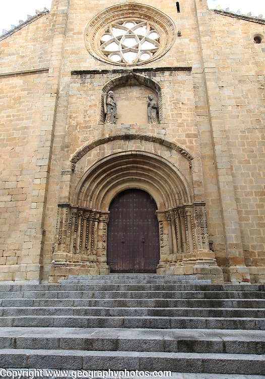 Door of old cathedral, Cathedral Vieja, Plasencia, Caceres province, Extremadura, Spain