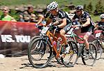 June 6, 2009:   Mountain bike race action during the Teva Mountain Games, Vail, Colorado.