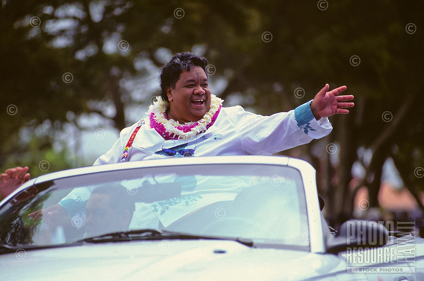 Famous local chef, Sam Choy, in parade as part of Aloha Week Festivals, Big Island