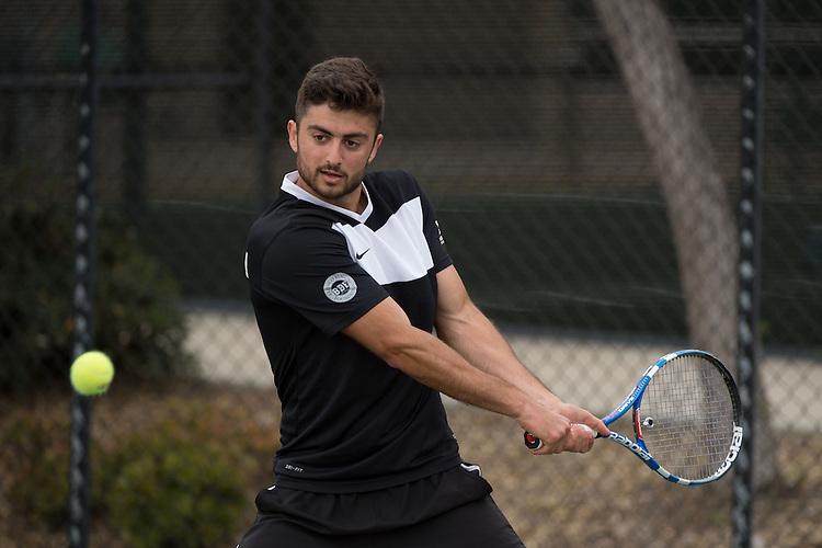 April 22, 2015; San Diego, CA, USA; Santa Clara Broncos tennis player Ashot Khacharyan during the WCC Tennis Championships at Barnes Tennis Center.