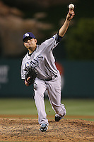 06/08/11 Anaheim, CA: Tampa Bay Rays relief pitcher Cesar Ramos #27 during an MLB game between the Tampa Bay Rays and The Los Angeles Angels  played at Angel Stadium. The Rays defeated the Angels 4-3 in 10 innings