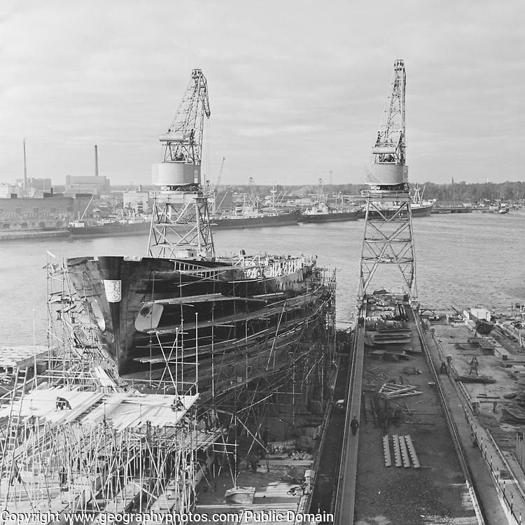 Ship under construction, Hietalahti Shipyard in Helsinki, Finland 1957