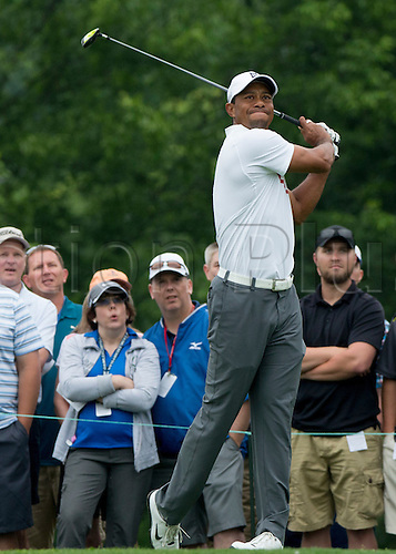 06.06.2015. Dublin, Ohio, USA.  Tiger Woods teeing off during the third round of the Memorial Tournament held at the Muirfield Village Golf Club in Dublin, Ohio.