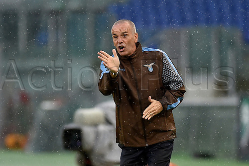 13.09.2015. Rome, Italy. Serie A Football. Lazio versus Udinese. Lazio's manager Stefano Pioli gives instructions to his player from the sideline