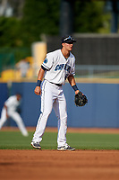 Lake County Captains shortstop Luke Wakamatsu (12) during the first game of a doubleheader against the West Michigan Whitecaps on August 6, 2017 at Classic Park in Eastlake, Ohio.  Lake County defeated West Michigan 4-0.  (Mike Janes/Four Seam Images)