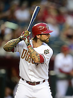 Apr. 17, 2012; Phoenix, AZ, USA; Arizona Diamondbacks infielder Ryan Roberts at bat against the Pittsburgh Pirates at Chase Field.Mandatory Credit: Mark J. Rebilas-