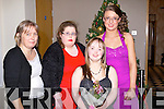 DEBS: Shauna O'Brien, Tralee met up with her family at Ballyroe Heights Hotel, Tralee on Saturday night before she headed to Mounthawk Sec School, Debs in Ballyroe Heights Hotel, l-rr: Jean Lynch, Kerry O'Mahony, Shauna O'Brien, Amy Lynch.