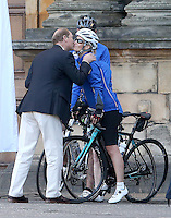 19 September 2016 - Edinburgh, Scotland - Sophie Countess of Wessex speaks to the media outside the Palace of Holyroodhouse in Edinburgh before the start of a 450 mile cycle ride to Buckingham Palace in London, for her DofE Diamond Challenge which marks the 60th anniversary of The Duke of Edinburgh's Award Scheme. Photo Credit: Alpha Press/AdMedia