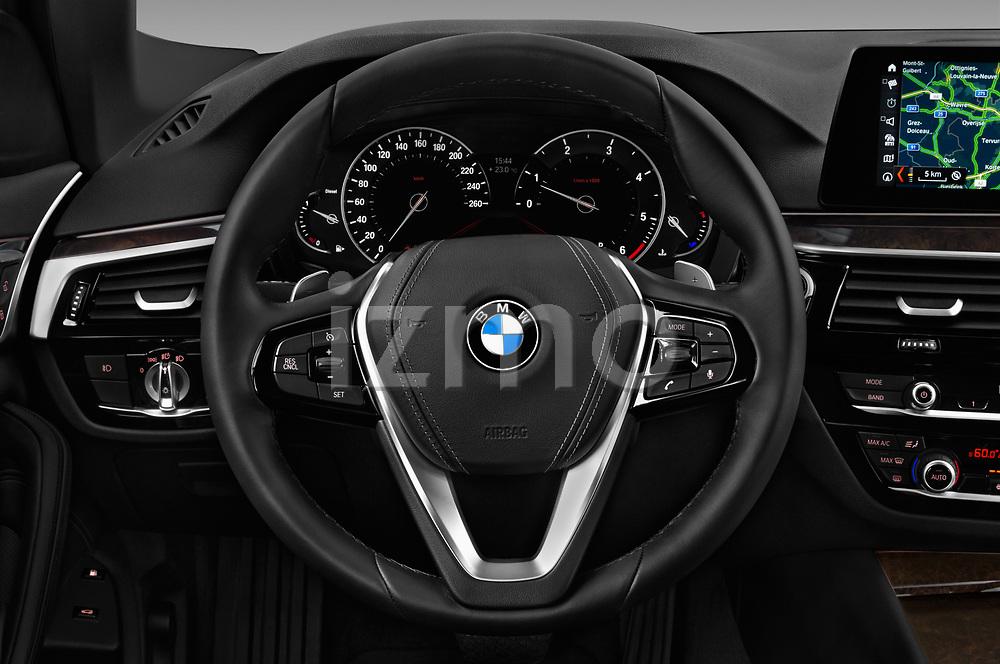 Car pictures of steering wheel view of a 2018 BMW 5 Series 530i 2WD 4 Door Sedan
