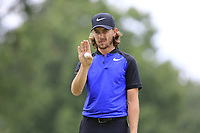 Tommy Fleetwood (ENG) lines up his putt on the 2nd green during Sunday's Final Round of the WGC Bridgestone Invitational 2017 held at Firestone Country Club, Akron, USA. 6th August 2017.<br /> Picture: Eoin Clarke | Golffile<br /> <br /> <br /> All photos usage must carry mandatory copyright credit (&copy; Golffile | Eoin Clarke)