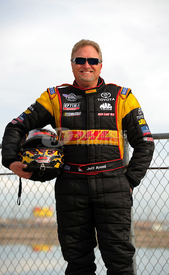 Feb. 19, 2012; Chandler, AZ, USA; NHRA funny car driver Jeff Arend poses for a portrait during the Arizona Nationals at Firebird International Raceway. Mandatory Credit: Mark J. Rebilas-