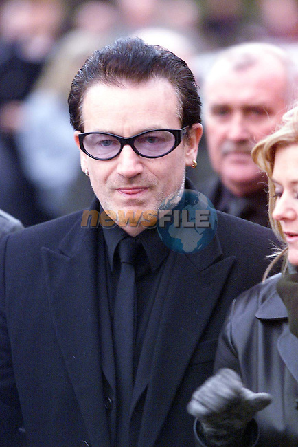 Bono at the funeral for Jean Corr, mother of The Coors in Dundalk..Picture: Newsfile.Manadatory Byline