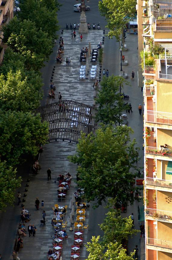 Street scene from a tower in La Sagrada Familia, Barcelona, Spain.