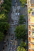 Street scene from a tower in La Sagrada Familia, Barcelona, Spain.