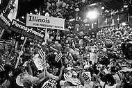 August 23rd 1972, Miami, Florida, USA. Supporters celebrate the election of Richard Nixon as Republican Party Presidential candidate at the 1972 30th Republican Convention, in Miami. Following Nixon's acceptance speech balloons fall and flags are waved by revellers wearing hats bearing his name during the finale of the convention. He will campaign for reelection against the South Dakota Democrat Senator George S. McGovern for the presidency.