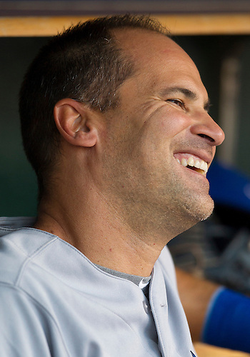 August 21, 2012:  Toronto Blue Jays shortstop Omar Vizquel (17) shares a laugh in the dugout during MLB game action between the Toronto Blue Jays and the Detroit Tigers at Comerica Park in Detroit, Michigan.  The Tigers defeated the Blue Jays 5-3.